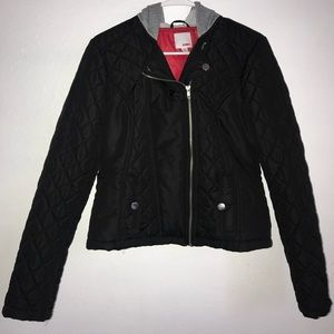A black jacket with red interior